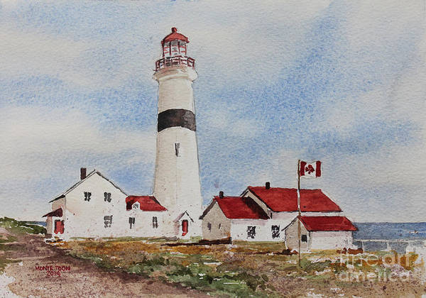 Painting - Point Amour Labrador Lighthouse by Monte Toon