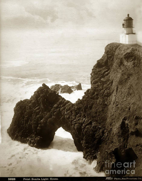 Photograph - Point Bonita Lighthouse I. W. Taber Photo Circa 1890 by California Views Archives Mr Pat Hathaway Archives