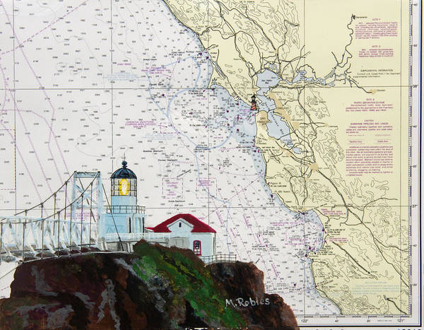 Noaa Chart Wall Art - Painting - Point Bonita Lighthouse On Noaa Nautical Chart by Mike Robles