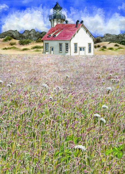 Fort Bragg Wall Art - Painting - Point Cabrillo Light by Karen Wright