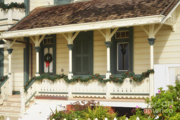Photograph - Point Fermin Lighthouse Christmas Porch by Donna Greene