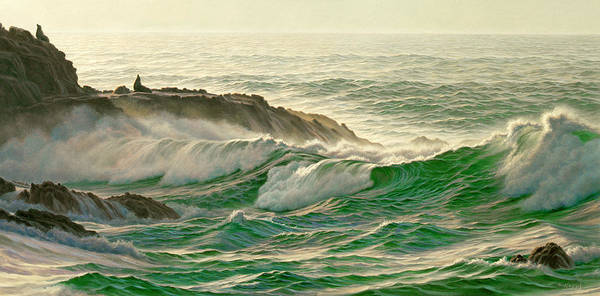Lions Painting - Point Lobos Surf by Paul Krapf