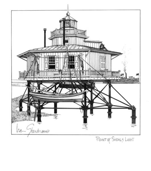 Screw Pile Wall Art - Drawing - Point Of Shoals Lighthouse by Ira Shander