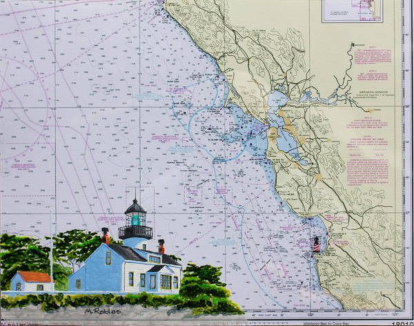 Noaa Chart Wall Art - Painting - Point Pinos Lighthouse by Mike Robles