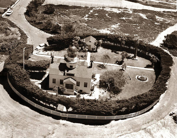 Photograph - Aerial Of Point Pinos Lighthouse Pcific Grove Monterey Bay California 1955 by California Views Archives Mr Pat Hathaway Archives