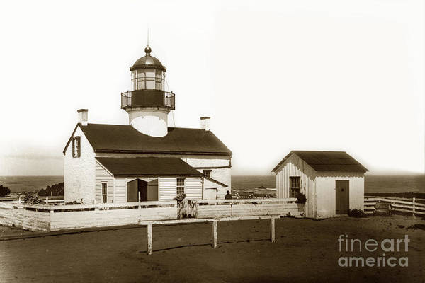 Photograph - Point Pinos Lighthouse Pacific Grove California Circa 1895 by California Views Archives Mr Pat Hathaway Archives