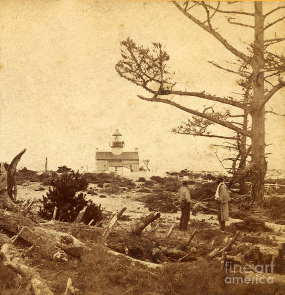Photograph - Point Pinos Lighthouse Pacific Grove Photo By Eadweard Muybridge 1872 by California Views Archives Mr Pat Hathaway Archives