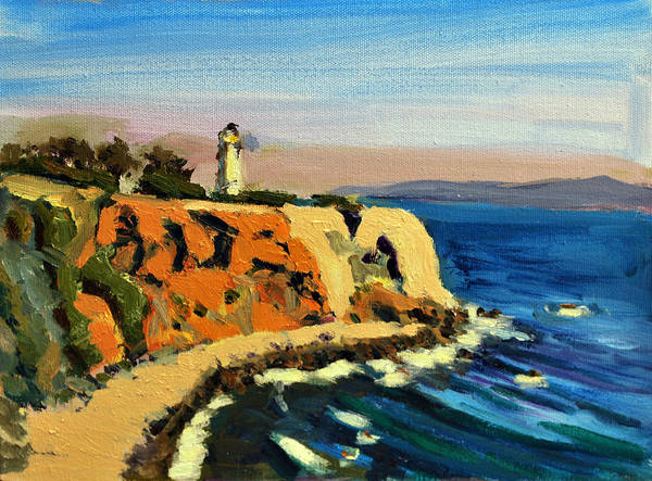 Point Vicente Wall Art - Painting - Point Vicente Lighthouse Cliff In Palos Verdes Ca by Marcus Greene