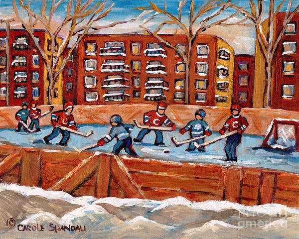 Pointe St Charles Painting - Pointe St. Charles Hockey Rink Southwest Montreal Winter City Scenes Paintings by Carole Spandau