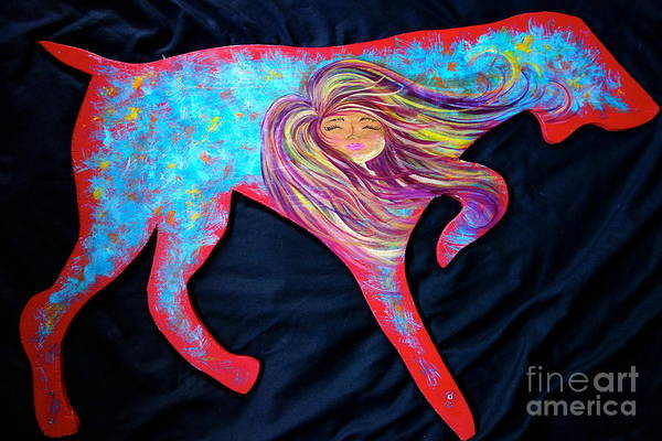 Painting - Pointer Cut Out With Wind Blowing by Jacqueline Athmann
