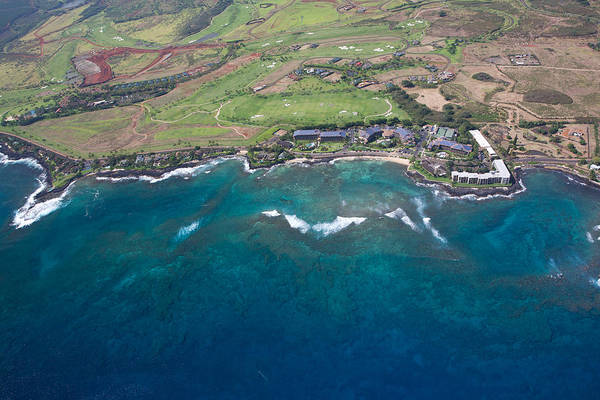 Photograph - Poipu Beach Kauai Aerial by Steven Lapkin