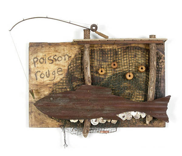 Wall Art - Mixed Media - Poisson Rouge by Benjamin Bullins
