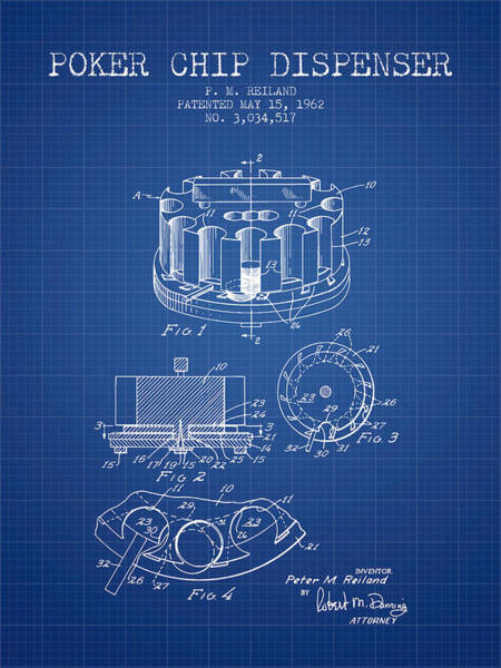Poker Chips Wall Art - Digital Art - Poker Chip Dispenser Patent From 1962 - Blueprint by Aged Pixel