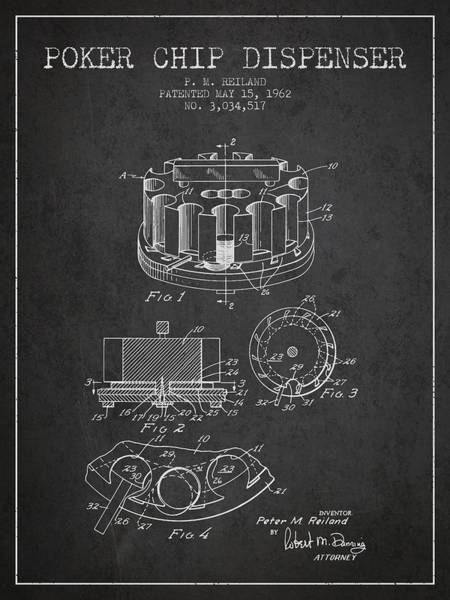 Poker Chips Wall Art - Digital Art - Poker Chip Dispenser Patent From 1962 - Charcoal by Aged Pixel