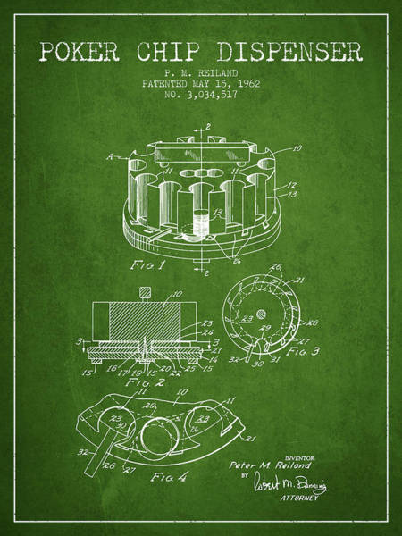 Poker Chips Wall Art - Digital Art - Poker Chip Dispenser Patent From 1962 - Green by Aged Pixel