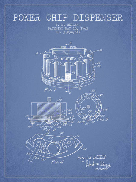 Poker Chips Wall Art - Digital Art - Poker Chip Dispenser Patent From 1962 - Light Blue by Aged Pixel