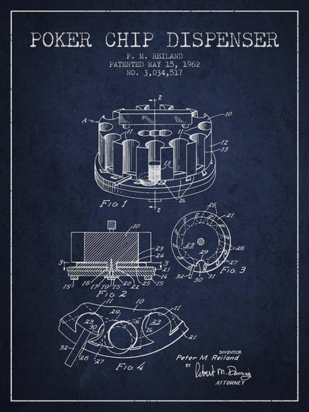Poker Chips Wall Art - Digital Art - Poker Chip Dispenser Patent From 1962 - Navy Blue by Aged Pixel