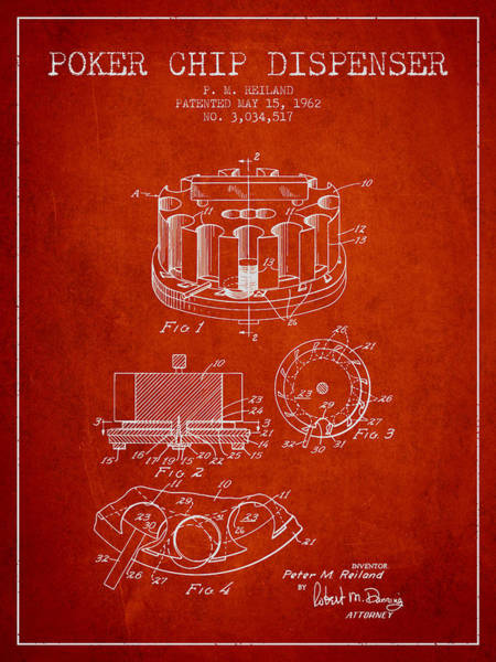 Poker Chips Wall Art - Digital Art - Poker Chip Dispenser Patent From 1962 - Red by Aged Pixel