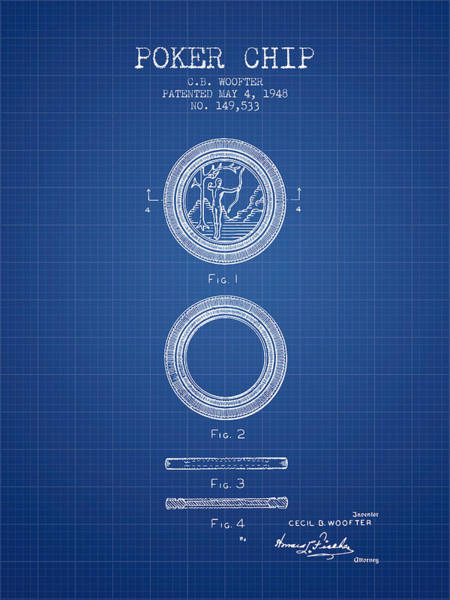 Poker Chips Wall Art - Digital Art - Poker Chip Patent From 1948 - Blueprint by Aged Pixel