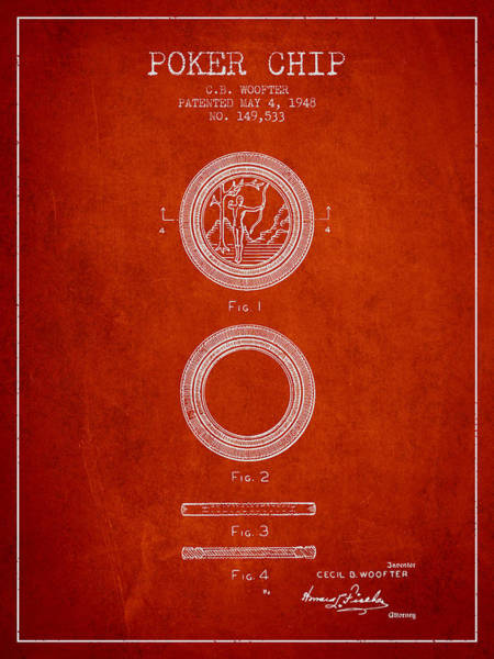 Poker Chips Wall Art - Digital Art - Poker Chip Patent From 1948 - Red by Aged Pixel