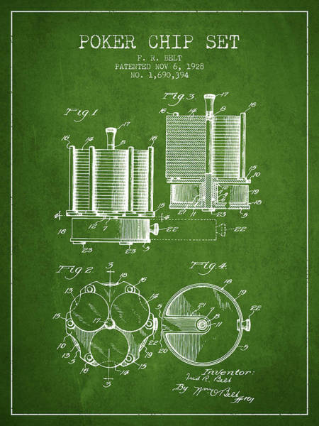 Poker Chips Wall Art - Digital Art - Poker Chip Set Patent From 1928 - Green by Aged Pixel