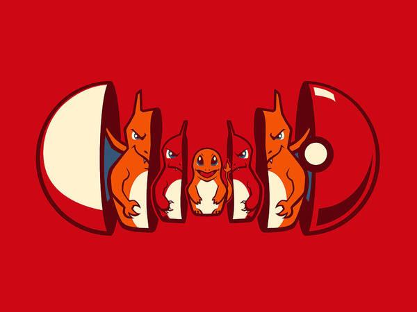 Pokemon Wall Art - Digital Art - Poketryoshka - Fire Type by Michael Myers