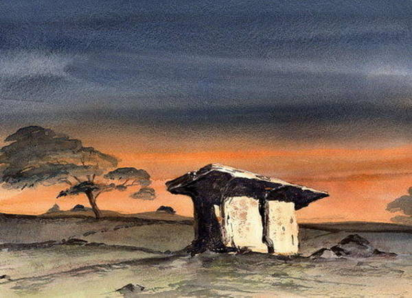 Painting - Pol Na Bron Dolmen In The Burren  Clare by Val Byrne