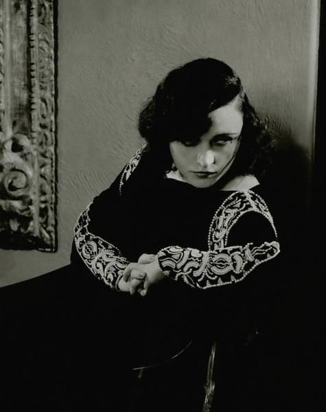 Photograph - Pola Negri Wearing A Dress by Edward Steichen