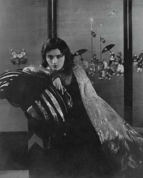 Eastern European Photograph - Pola Negri Wearing A Gilded Dress by Edward Steichen