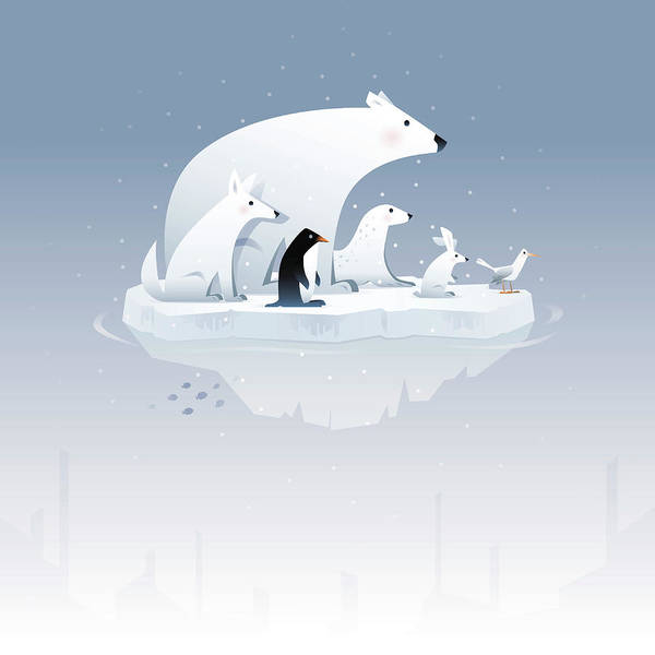 Seagull Digital Art - Polar Bear And Friends by Id-work