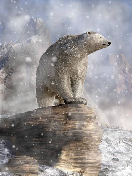 Digital Art - Polar Bear In A Snowstorm by Daniel Eskridge
