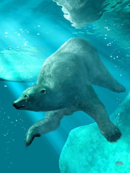 Digital Art - Polar Bear Underwater by Daniel Eskridge