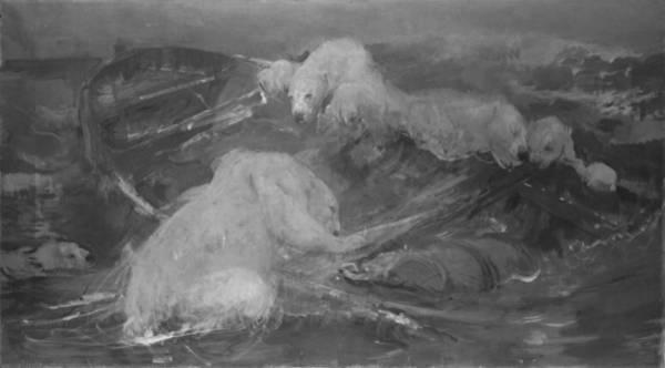 Polar Bear Drawing - Polar Bears Climb A Drifting Boat, John Macallan Swan by Litz Collection