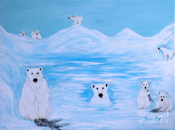 Painting - Polar Bears. Inspirations Collection by Oksana Semenchenko
