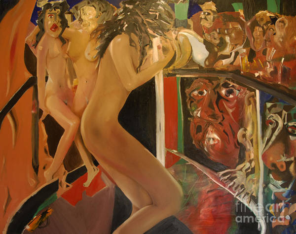 Painting - Pole Dancers And Their Admirers by James Lavott