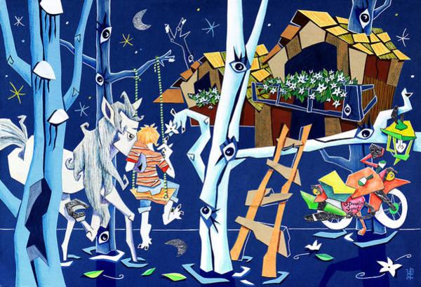 Polesine - Landscape Illustration - Parco Naturale Delta Del Po - Italy Art Print
