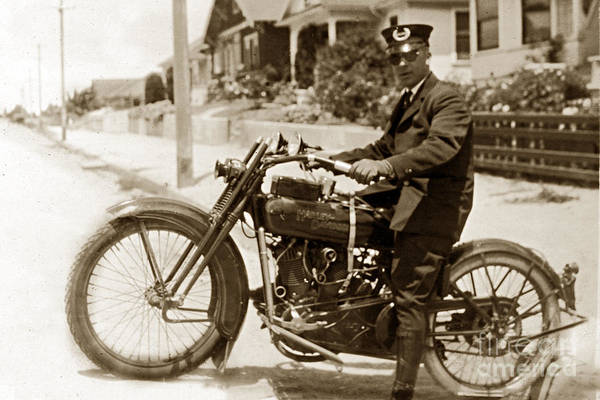 Photograph - Police Man On A Harley Davidson  Motorcycles Circa 1920 by California Views Archives Mr Pat Hathaway Archives