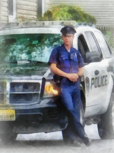 Photograph - Police - Policeman By Patrol Car by Susan Savad