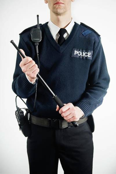 Asps Photograph - Policeman With Baton by Gustoimages/science Photo Library