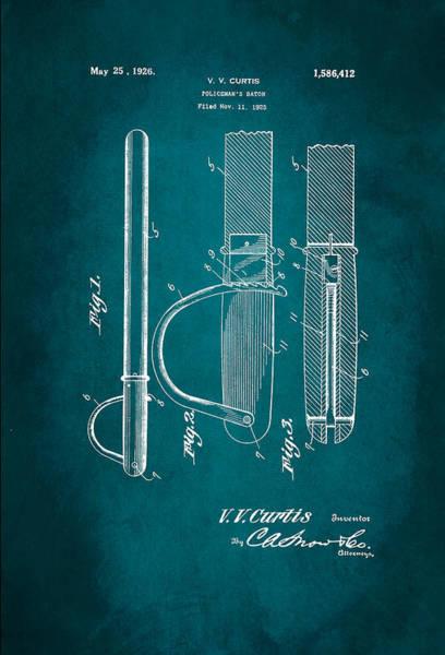 Description Digital Art - Policeman's Baton Patent 1926 by Patricia Lintner