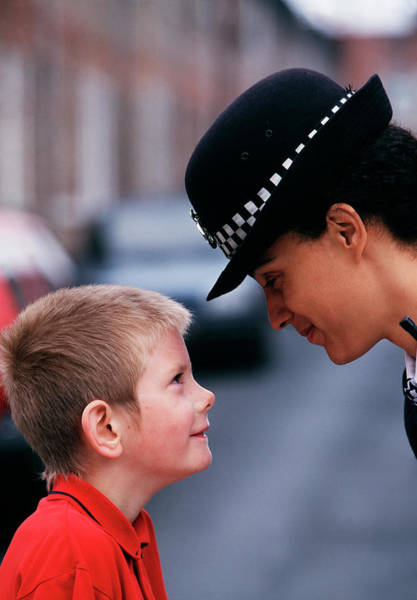 Security Service Photograph - Policewoman And Small Boy by Jim Varney/science Photo Library