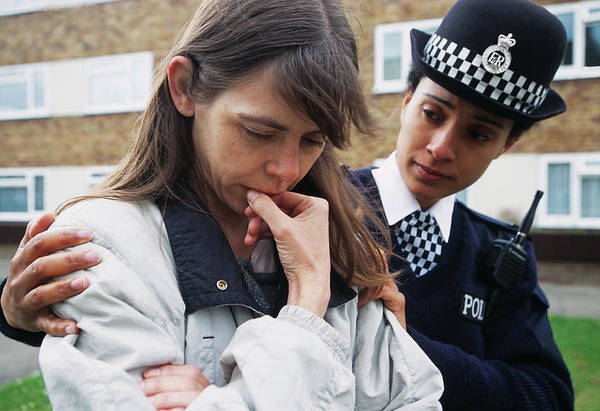 Security Service Photograph - Policewoman Comforting Woman by Jim Varney/science Photo Library