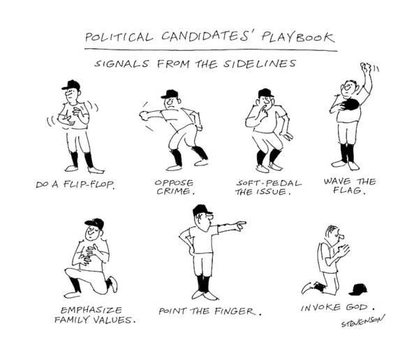 Sports Drawing - Political Candidates' Playbook Signals by James Stevenson