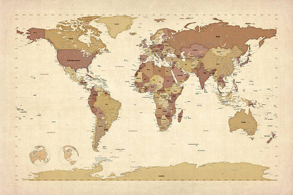 Atlas Digital Art - Political Map Of The World Map by Michael Tompsett