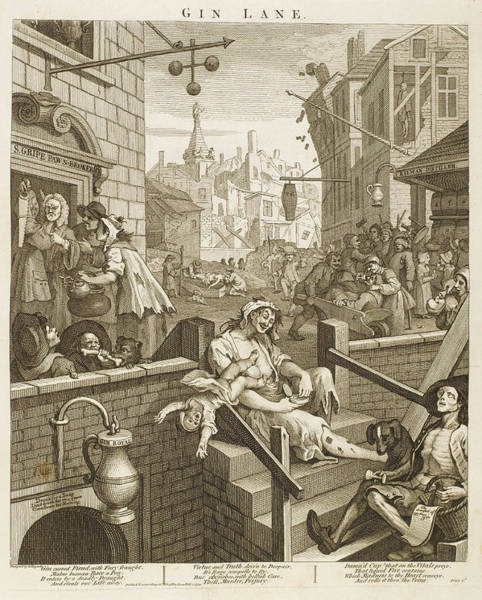 Wall Art - Drawing - Political  Print Of Gin Lane by Mary Evans Picture Library