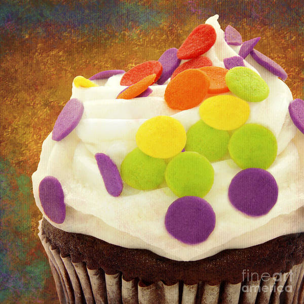 Photograph - Polka Dot Cupcake 3 Square by Andee Design