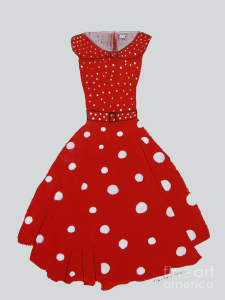 Painting - Polka Dotted Red Dress by Robin Maria Pedrero