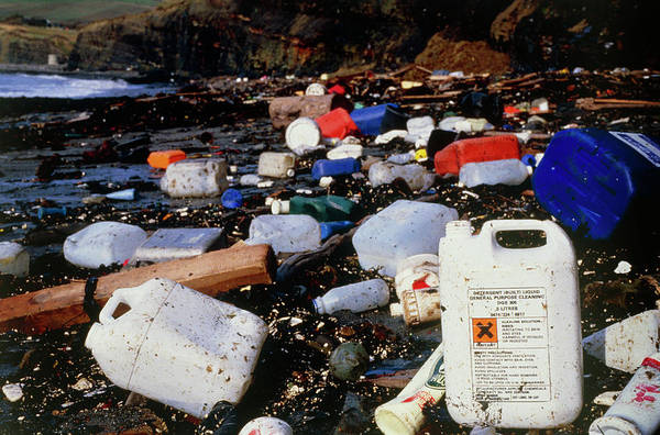 Pollution Consisting Of Pastics On A Beach Art Print