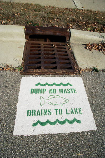 Drain Photograph - Pollution Warning Sign by David Hay Jones/science Photo Library