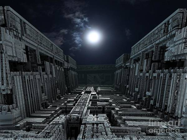 Digital Art - Polychrony Moonlight by Bernard MICHEL